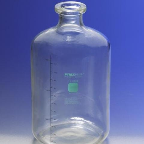 Photo of Corning 61596-13L PYREXPLUS® Coated 13.25LT Solution Bottle with Tooled Neck