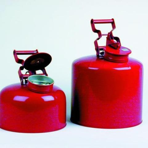 Photo of Red Galvanized Steel Waste Disposal Safety Cans. Eagle